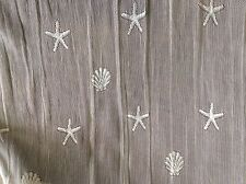 "SEASHELLS & STARFISH WHITE LACE WITH BORDER- 56"" WIDE- BY THE YARD"