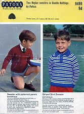 ~ Vintage 1960's Patons Knitting Pattern For Child's Smart Raglan Sweaters ~