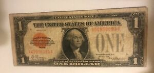 1928. $1. Red seal. United States note  ,  fine +