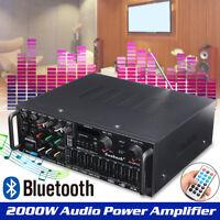 220V-240V 2000W 4 ohm 2CH EQ bluetooth Stereo Audio Amplifier USB SD Car w/ Fans
