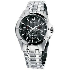 New Bulova 96C107 Stainless Steel Day/Date Black Dial Men's Watch