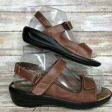 Kumfs Womens Brown Leather Casual Sandals Molded Footbed Adjustable 6.5M
