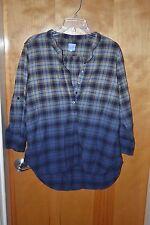 PJK BLUE LABEL Blue Yellow Cotton Plaid Long Sleeve Henley Shirt Size M