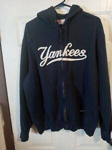 NIKE NY YANKEES NAVY FULL ZIP HOODIE HOODED STITCHED JACKET Mens XL pre-owned