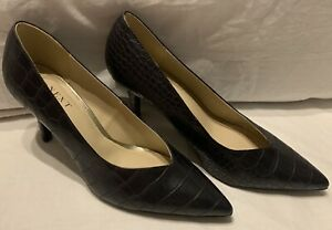 Next Forever Comfort black leather high heel office pointed toe court shoes 6