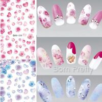Nail Art Water Transfer Decals Sticker Beautiful Rose Petals Tips Manicure Tips