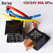 Auto Car Relay w/ Socket 12V 80A AMP 5Pin SPDT Car Starter Relays Bike Boat Van