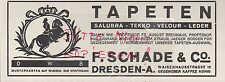DRESDEN, Werbung 1929, F. Schade & Co. Tapeten Salubra Tekko Velour Leder