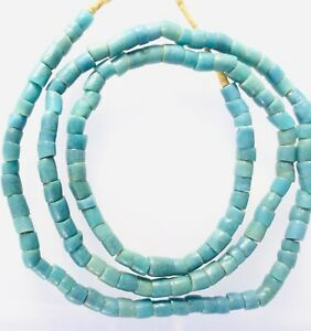 Antique Old Krobo Powderglass Turquoise Colored African Trade Beads-Ghana