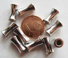 10 perles TUBES Bambou lisses METAL ARGENTE 11mm DIY création Bijoux Déco MA56