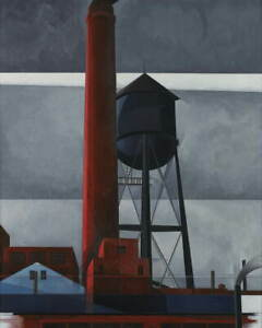 Charles Demuth Chimney and Water Tower Poster Reproduction Giclee Canvas Print