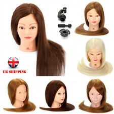 100% Real Human Hair Training Head Doll Mannequin Salon Hairdressing & Clamp UK