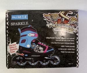 Sparkle Kryptonics Girls Size 1-4 Adjustable Inline Skates Rollerblades Open Box