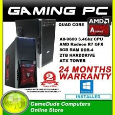 AMD QUAD Core A8 9600 3.4GHz Gaming PC Computer 8GB ram 2Tb HDD R7 GFX Windows10