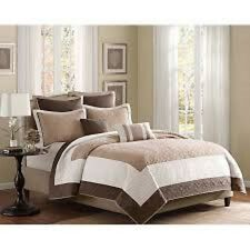 Queen Brown Ivory and Tan Quilt 7-piece Coverlet Set Bedspread Microfiber Cotton
