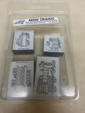 New Stampin Up Foam Mounted Stamp Set MINI TRAINS Rubber Engine Coal Car Caboose