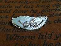 """Vintage Carved Mother Of Pearl 10K Gold """"M"""" Initial Scarf Pin Brooch MINT!"""