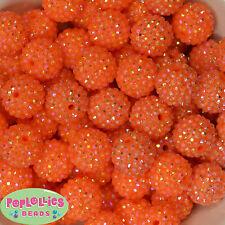 20mm Orange Rhinestone Resin Bubblegum Beads 20pc Chunky Gumball