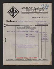 BERLIN, Rechnung 1925, ASA-Block GmbH Druckerei Verlagsanstalt
