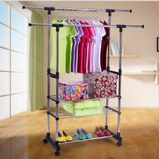 Portable Rolling Garment Rack Double Rail Adjustable Clothes Hanger With  Shelves
