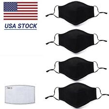 [4-PACK] Face Mask Adjustable Strap Washable Reusable Cloth Cotton with Filter