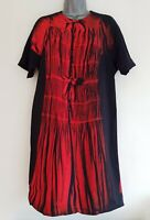 VICTORIA BECKHAM Women's Black/Red Patterned Short Sleeve Shift Dress.Size UK 10