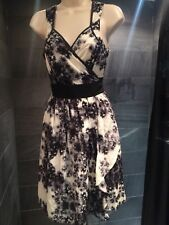 Women's Black And White Floral Patterned Ted Baker Dress Size 14