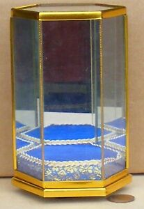1:12 Scale Small 6 Sided Glass Shop Display Cabinet Tumdee Dolls House Blue Base