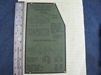 HMMWV IDENTIFICATION DATA PLATE M1025A1 12342991 9905-01-393-1834 MILITARY