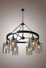 Mason Jar Glass Wagon Wheel Country Chandelier Filament Edison 6 Light