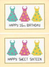 16th / Sixteen / 18th, 21st, 3 Dresses - Happy Birthday Cross Stitch A6 Card Kit