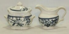 222 Fifth Adelaide Blue Porcelain Creamer & Sugar Bowl with Lid New