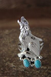 Navajo  Jewelry Sterling Silver Howling Wolf /  Lobo Turquoise Ring Size 7 - ...