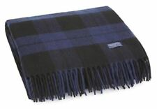Faribault Woolen Mill Co. Bison Check Wool Throw - Navy