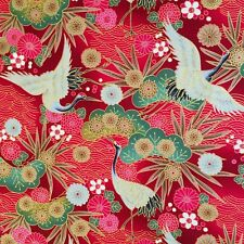 Japanese cranes fabric, metallic red, birds, gold floral oriental cotton