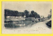 Carte Postale Ancienne CLAYE en 1902 Seine et Marne PONT sur le CANAL de l'OURCQ
