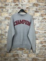 CHAMPION USA ORIGINAL LOGO SPELL OUT VINTAGE GREY CREW NECK 90'S SWEATER MEDIUM