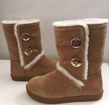 Tory Burch Amelie Split Suede Shearling Boots - NEW Size 5 Brown