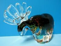HAND BLOWN GCA ART GLASS MOOSE PAPERWEIGHT w/ AMBER COLOR & BROWN SPECKLES
