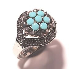 .925 Silver Plated Handmade Ring Blue Chalsedony Oval Shape Stone SIZE -10 NO US