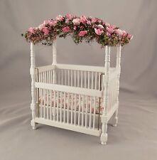 Dollhouse Miniature Shabby Chic Wooden White Fairy Crib Baby Bed Nursery