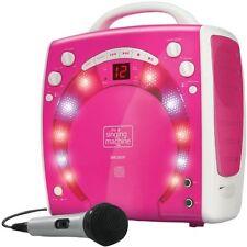 Kids Pink KARAOKE PARTY Singing Machine Ragazze PORTATILE discoteca luci con 3x cdgs