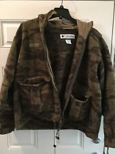 Men's Columbia Monarch Pass hooded Wool CAMO HUNTING Jacket Size XL