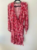 NWT EBBY & I PAISLEY PERSIAN PRINT LONG SLEEVED WRAP DRESS -SIZE 12 -FLATTERING