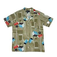 Vintage Fame Button Up Shirt Men's Size L Short Sleeve Collared Abstract Shapes