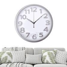 Wanduhr Quarzuhr Wand Küchen Bahnhof arabische Ziffern geräuschlos Uhr Silber
