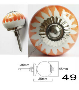2 x Ceramic Door Knob ARTISAN Handles HIPPY Orange White Cupboard Drawer Set Of2