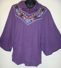 Top MEDIUM Purple Silver Studs Buttons Embroidery Angel Sleeve Caftan Poncho 87