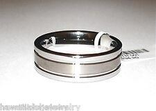 8mm 2-Tone Tungsten Carbide Brushed Satin Ring 11.5