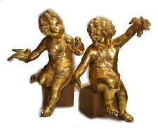 PAIR OF BRONZE GOLD PLATED CHERUBS HOLDING GRAPES AND BIRD c.1950